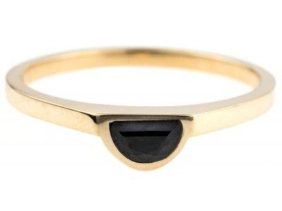 Half-Moon Black Jade Ring