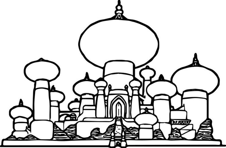 Disney Graphics Aladdin Castle Coloring Page (With images ...