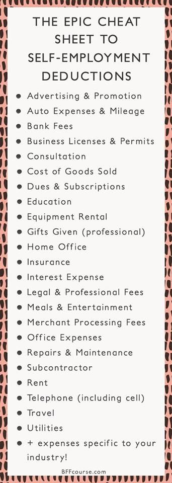 The Epic Cheat Sheet to Deductions for Self-Employed.