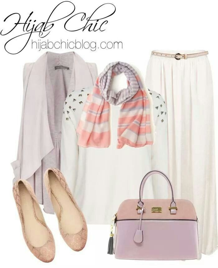 White skirt, white studded shirt, peach and purple striped scarf, pale purple vest, pale purple bag, gold shoes