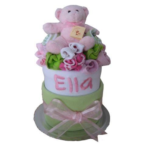 Personalised baby wrap nappy cake girls
