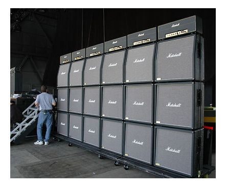 Marshall Amps Stacked Up On Stage
