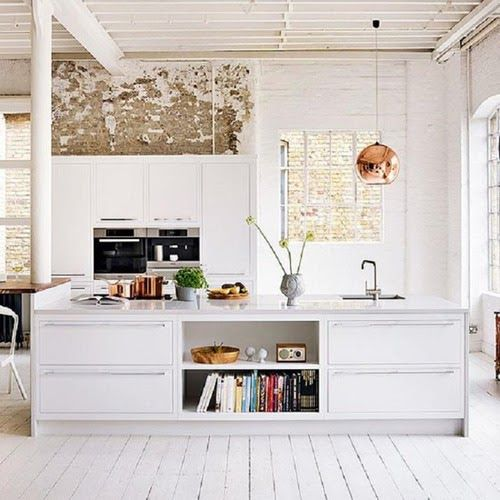 white timber floors + exposed brick