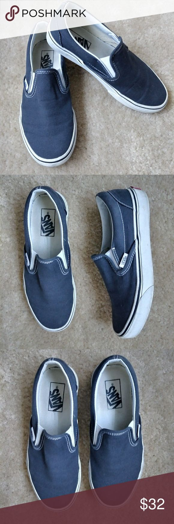 VANS charcoal grey slip ons Men's 5.5 women's size 7 dark charcoal grey slip on vans. Love these but they're too snug for me, I'm a 7/7.5 and these are definitely a snug 7. My loss is your gain. Enjoy! Vans Shoes Flats & Loafers