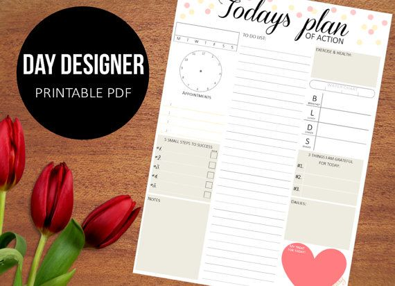 """Daily Planner Printable, day organizer, A4 daily planner, A5 daily planner, 8.5""""x11""""  - chic planner,"""
