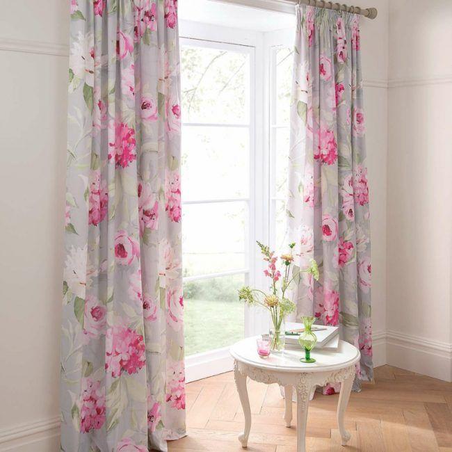 vorhang ideen vintage stil romantisch rosen rosa besitelltisch weiss