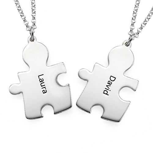 Personalised Silver Couple's Puzzle Necklace | MyNameNecklace