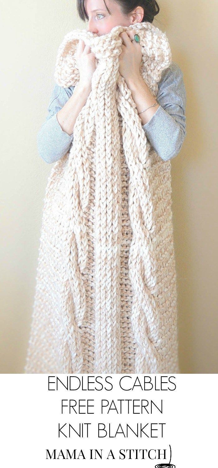Free Pattern Chunky Cable Knit Blanket from Mama In A Stitch. Pictures on how to make the cable!