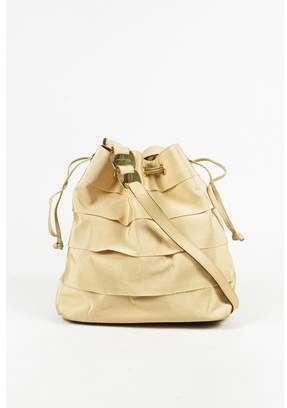 1d1480c404 Salvatore Ferragamo Pre-owned Vintage Cream Grosgrain Tiered   Lather Trim  Bucket Bag.