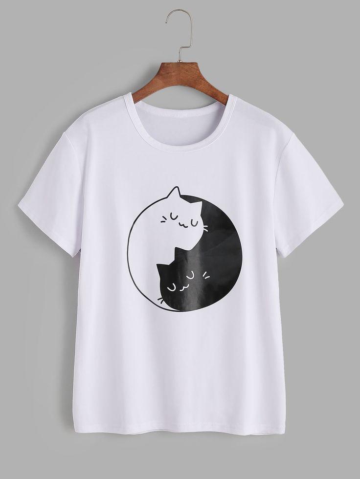 T Shirt With Pattern Of Cat German Shein Sheinside Shirts Cat German Pattern Shein Sheinside Shirts Tshirt Kadin Tisort Polo Tisortler Tisort