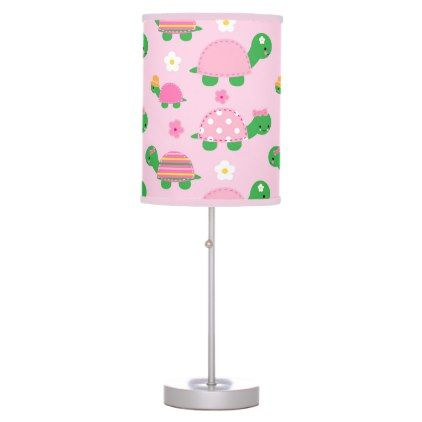 Cute Green Turtle on Colorful Pink Desk Lamp - kids kid child gift idea diy personalize design