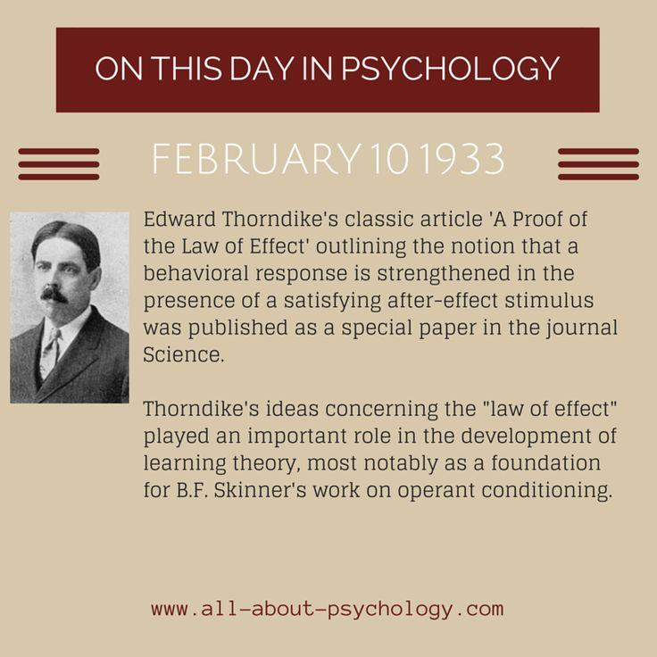 10th February, 1933. Edward Thorndike's classic article 'A Proof of the Law of Effect' was published. Studying psychology? Click on image or GO HERE --> www.all-about-psychology.com for free psychology information & resources. #psychology