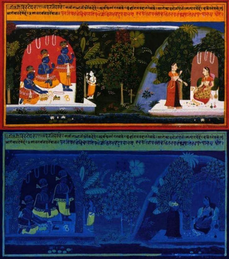 El amarillo indio es un pigmento que ya se empleaba en la India desde el siglo XV para colorear miniaturas, y que destaca por su intensa fluorescencia y brillo a la luz natural.   Había sido introducido desde Persia durante el siglo XV. Los pintores holandeses fueron los primeros en utilizarlo en