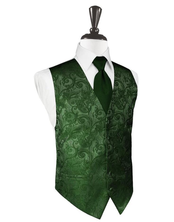 Hunter Green Tapestry Tuxedo Vest Nice for a #StPatricksDay wedding!