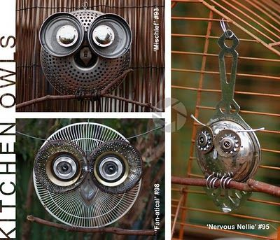 Recycled kitchen pieces.  I would like to see several of these in the trees in my garden!