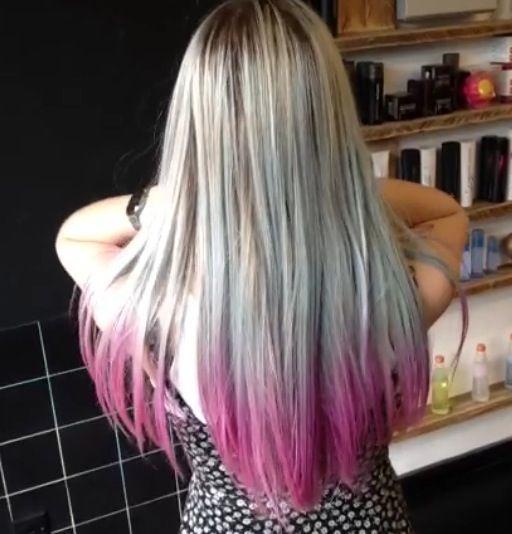 Bleach London. Dip dye pink hair tips.