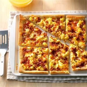 Bacon Breakfast Pizza Recipe -I used to make this for my morning drivers when I worked at a pizza delivery place. And they just loved it. It's a quick and easy eye-opener that appeals to all ages. —Cathy Shortall, Easton, Maryland