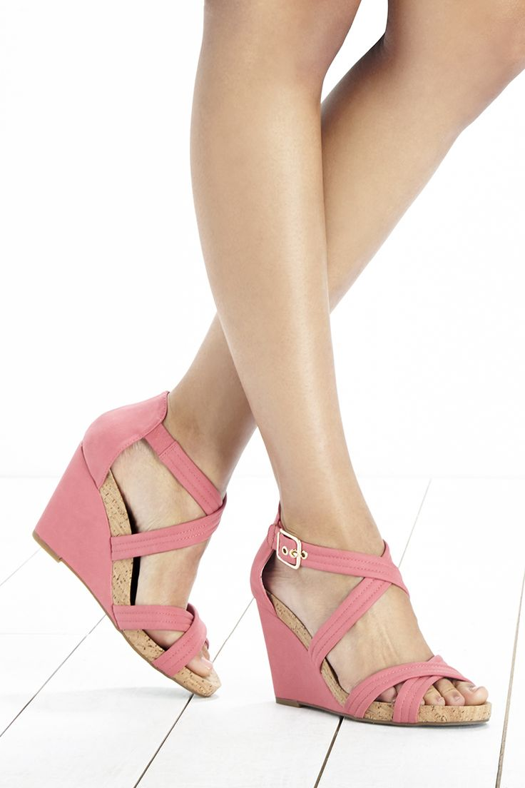 Pink Platform Wedge Sandals With A Comfortable Cork Foot