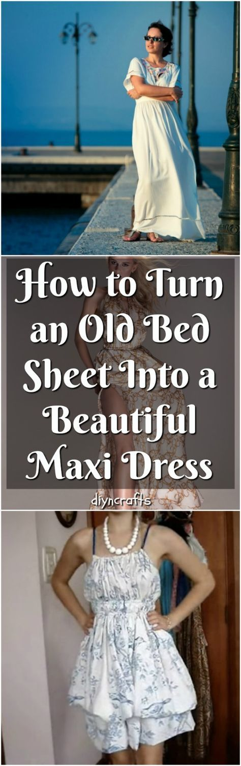 How to Turn an Old Bed Sheet Into a Beautiful Maxi Dress - Do you have any old bed sheets stuffed away in a closet or a drawer somewhere? I have a few. I liked the colors or patterns a lot, to much to throw them way because they got a small tear or don't fit my bed anymore. But I never could figure out what to do with them. But bed sheets are really expensive. Throwing them away would be a waste, right? #upcycle #fashion #repurpose via @vanessacrafting