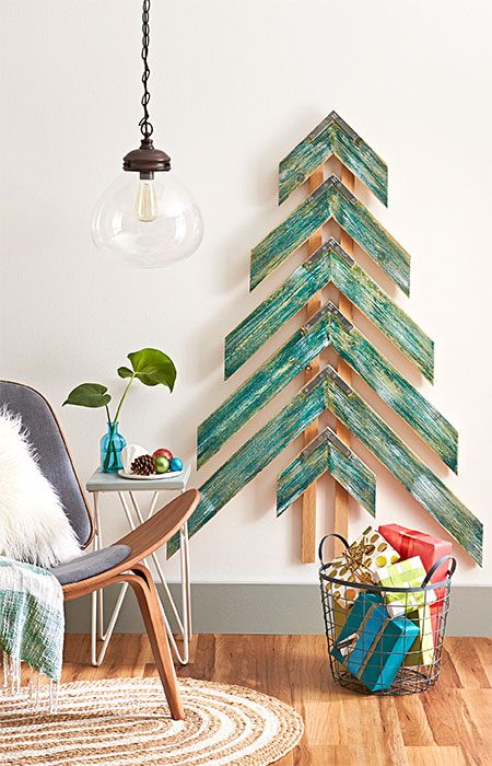 Easy to display and store after the holidays, this chevron tree also takes up minimal floor space. --Lowe's Creative Ideas