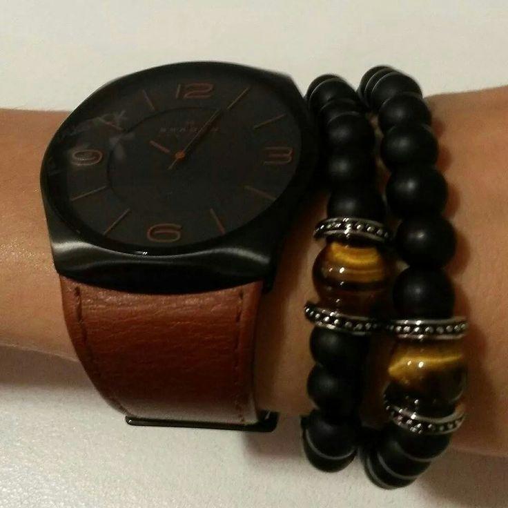 XENOX steel bracelets in combination with a Skagen watch
