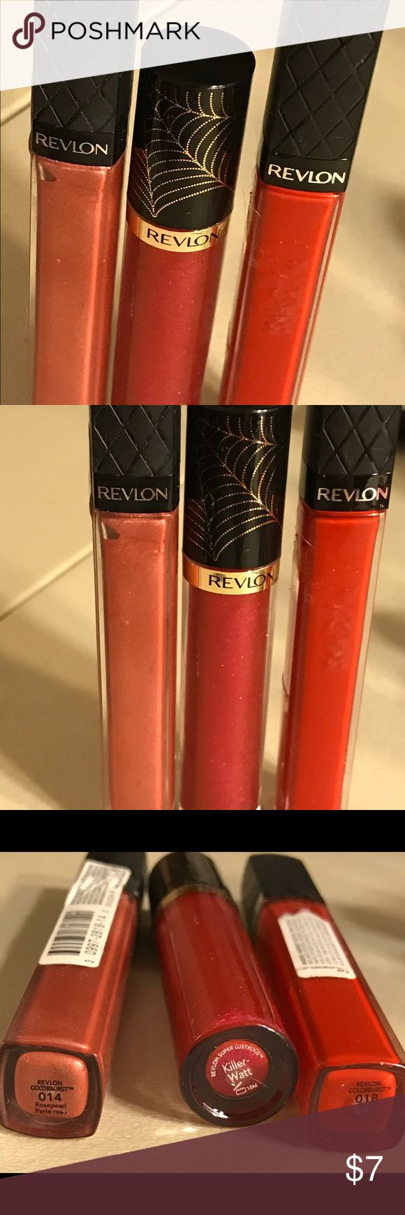 Revlon trio lipgloss Revlon trio lipgloss!! Testers!! Revlon colorburst lipgloss in color 014 rosepearl, revlon colorburst in color 018 fire, and revlon super lustrous in color killer-watt. Thanks for checking out Luxury1cosmetics!! Offers are welcomed, bundles are discounted. Revlon Makeup Lip Balm & Gloss