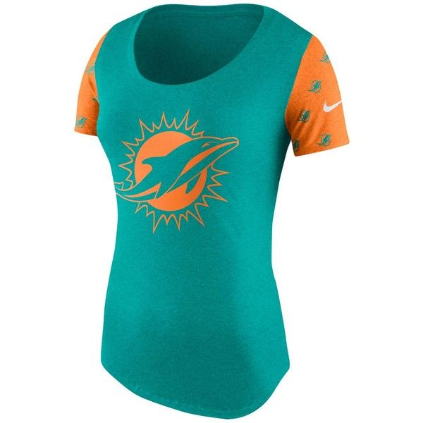 Nike Women's Miami Dolphins First String Tri Scoop T-Shirt ($40) ❤ liked on Polyvore featuring tops, t-shirts, logo t shirts, nike, blue top, nike t shirt and screen print t shirts
