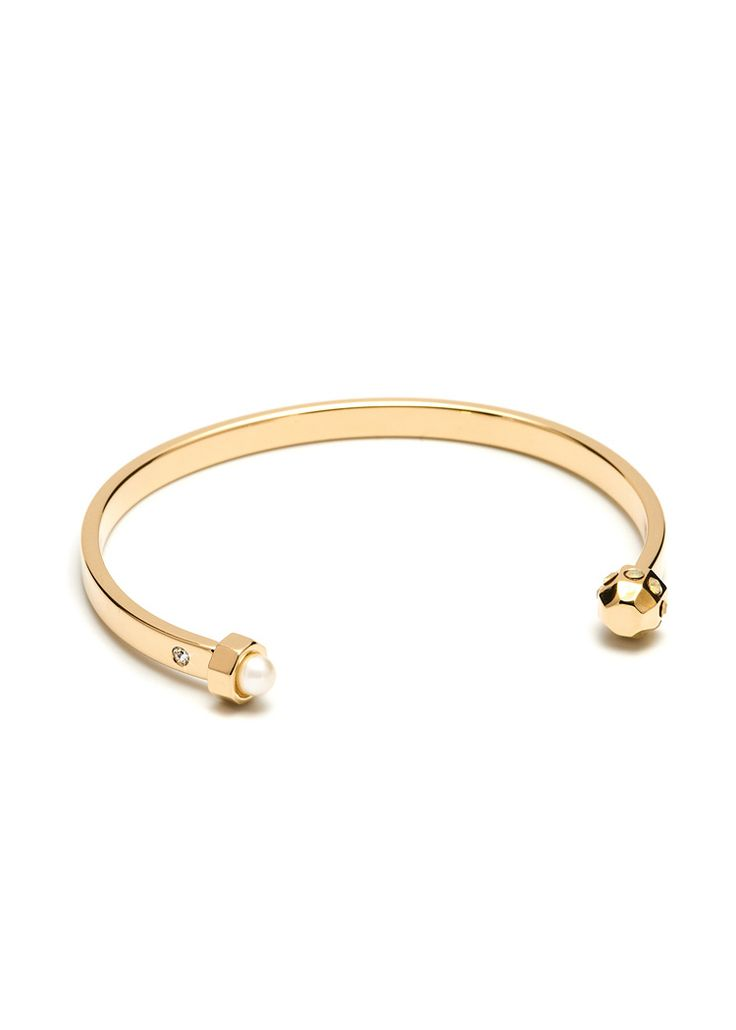 Maria Francesca Pepe Thin cuff with flat encrusted stud and pearl Shop now> https://www.mariafrancescapepe.com/showplarge.aspx?prodid=754&catid=47&utm_source=Social&utm_medium=Pinterest&utm_campaign=Fw14_cuff_%20stud%26pearl