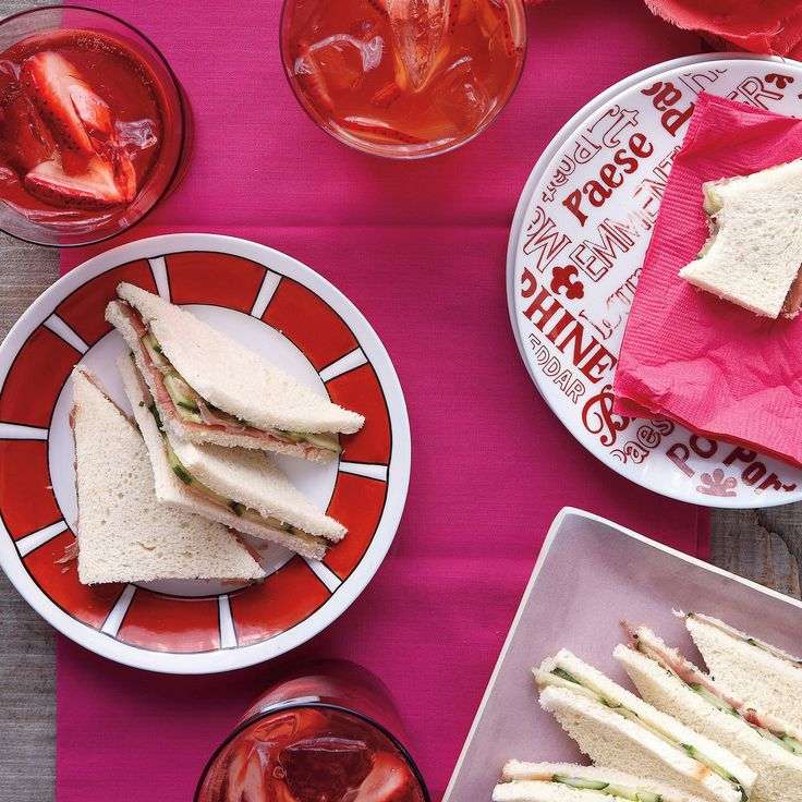 These dainty tea sandwiches are spread with chive butter and layered with prosciutto and cucumber slices. They make a nice match with our fruity vodka-spiked iced tea.