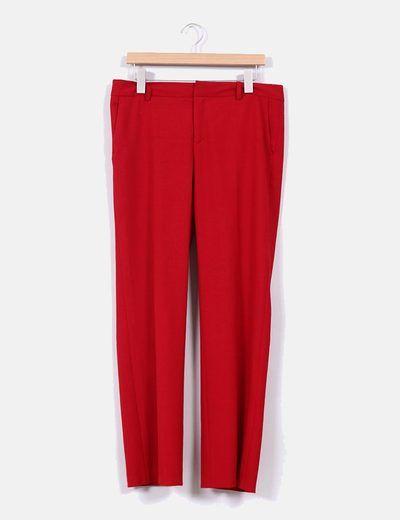 Pantalón de pinzas rojo intenso Zara