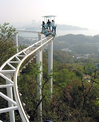 Pedal-powered roller coaster! Wonder if I could combat my fear of heights by controlling my pace.