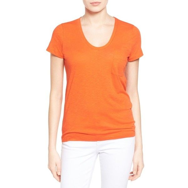 Petite Women's Caslon Relaxed Slub Knit U-Neck Tee ($25) ❤ liked on Polyvore featuring tops, t-shirts, orange spice, petite, petite t shirts, short sleeve t shirt, petite tops, red top and orange tee