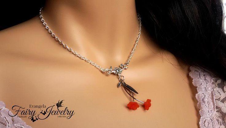Collana ramo fiore rosso lucite monachelle argento 925 mezzi cristalli , by Evangela Fairy Jewelry, 11,00 € su misshobby.com
