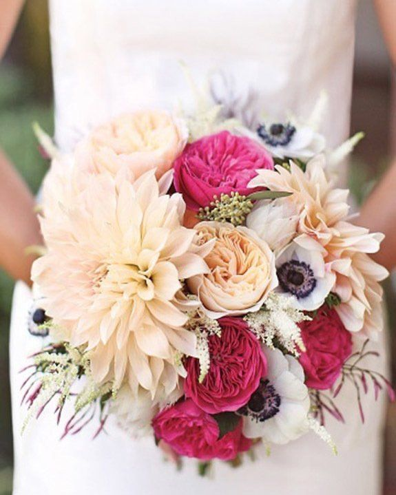 Think this bouquet is so pretty --love the cafe au lait dahlia as a big statement flower, and how lush it all feels overall. Is there a way to do something like this without using white or anything too close to white?