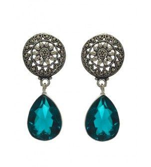 Silver Blue Crystal Earring