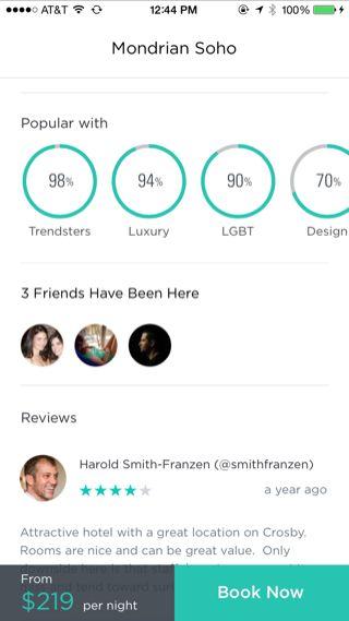 Gogobot iPhone detail views, booking, reviews screenshot