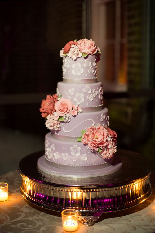 Mark Joseph Cakes Created A Decadent Four Tiered Lavender Wedding Beneath The Piping And Sugar Flowers Are Tasty Layers Of Red Velvet Chocolate Almond