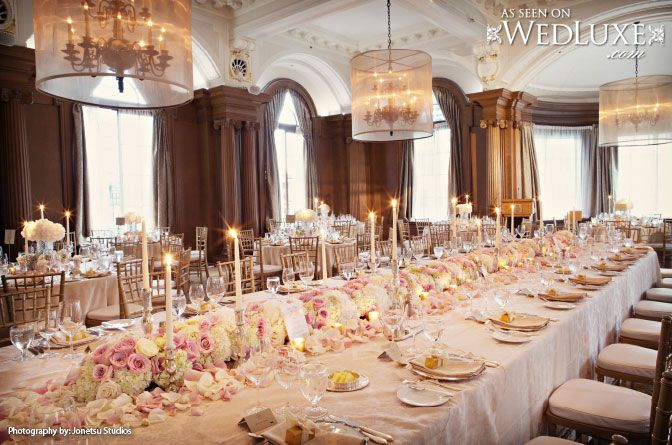 WedLuxe: pretty pink and cream centerpieces at a #wedding reception held at The Vancouver Club