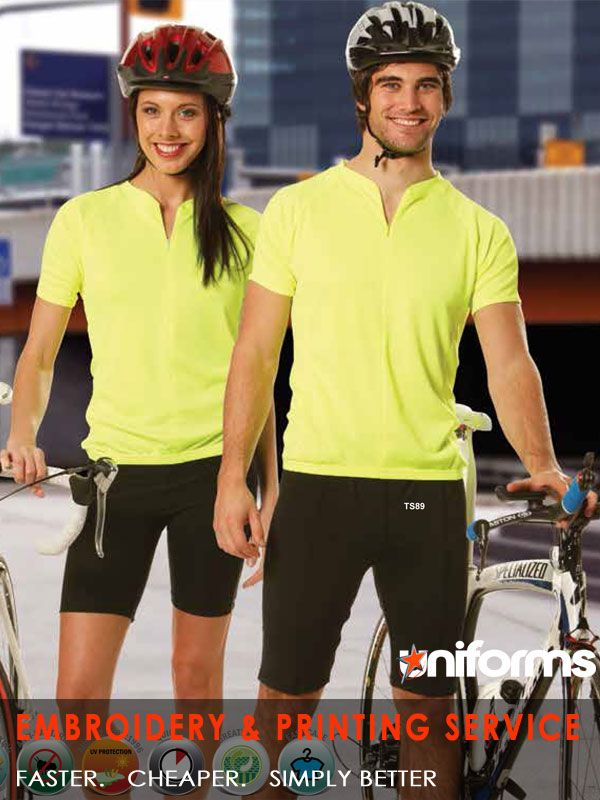 uniforms-Unisex Stylish Fluoro Cycling Top  Made out of hi-vis Cooldry performance fabric for ultimate wicking and breathability. white top for sublimation printing.Half length front zipper, elastic waist. Three rear pockets for storage of valuables.can be used as uniforms for any sports academy. Colors: Fluoro Yellow, White  See more at:  https://www.uniforms.com.au/