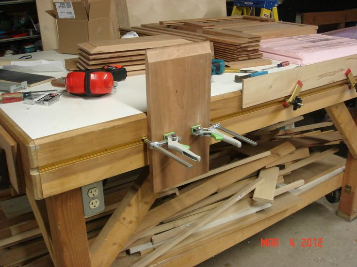 Festool clamps in T-track on homemade workbench (Incra T-Tracks; fit Festool quick clamps but ...