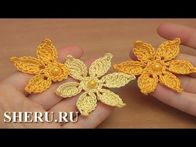 Цветочек связанный крючком для кружева Урок 45 Crochet Flower Irish
