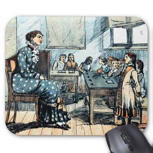 Teachers' Day / Teachers' Week / Graduation / Thank You,Teacher Gift Mousepads for Teachers with a vintage School Teacher magazine illustration, circa 1880. Matching cards, postage stamps and other products available in the Business / Occupation Specific Category of the oldandclassic store at zazzle.com