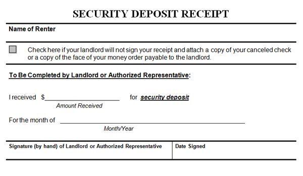 Security Deposit Receipt Receipt Template Invoice Template Deposit