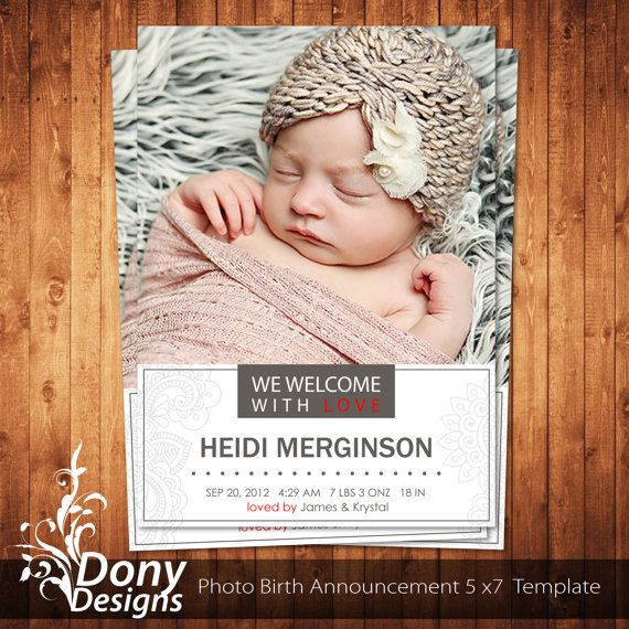 59 best Birth Announcement Template images on Pinterest Baby