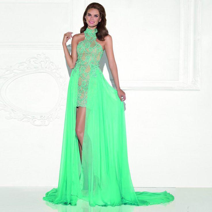 Maphia Homcoming Dresses Sweet Girl 2017 vestido de festa longo with Beading Appliques turquoise Prom Chiffon Lace Dress