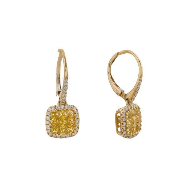 14k Gold Yellow Sapphire And Diamond Square Earrings ($600) ❤ liked on Polyvore featuring jewelry, earrings, earring jewelry, 14k earrings, 14 karat gold diamond earrings, diamond earrings and gold earrings