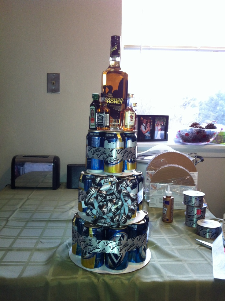 My take on the beer can cake for my boyfriend! He loved it!