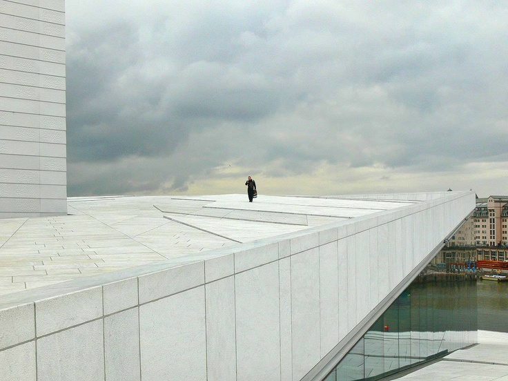Oslo Opera House, Norway. Much of the building is covered in white #granite and La Facciata, a white Italian #carrara #marble!