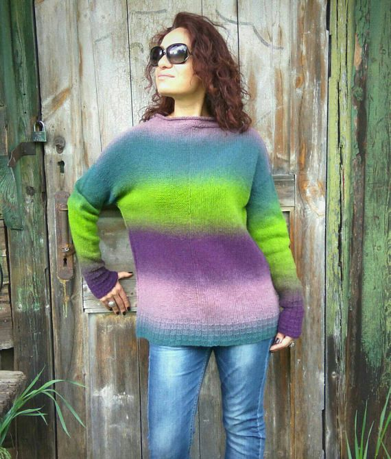 Rainbow Ombre Knit Sweater Handknitted Sweater Unusual