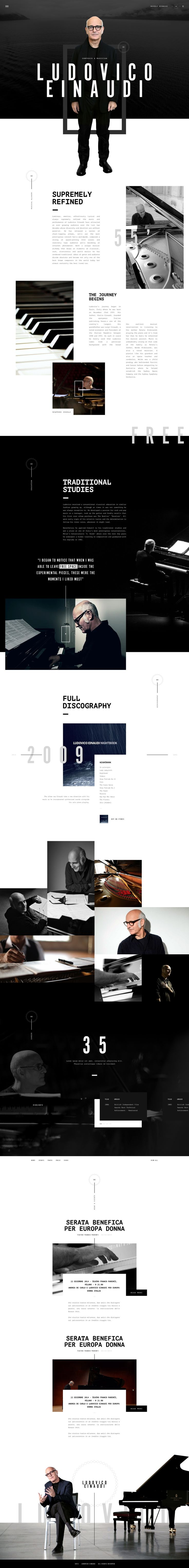 Ludovico Einaudi web presence conceptual design. Ui work by Gene Ross on dribbble.